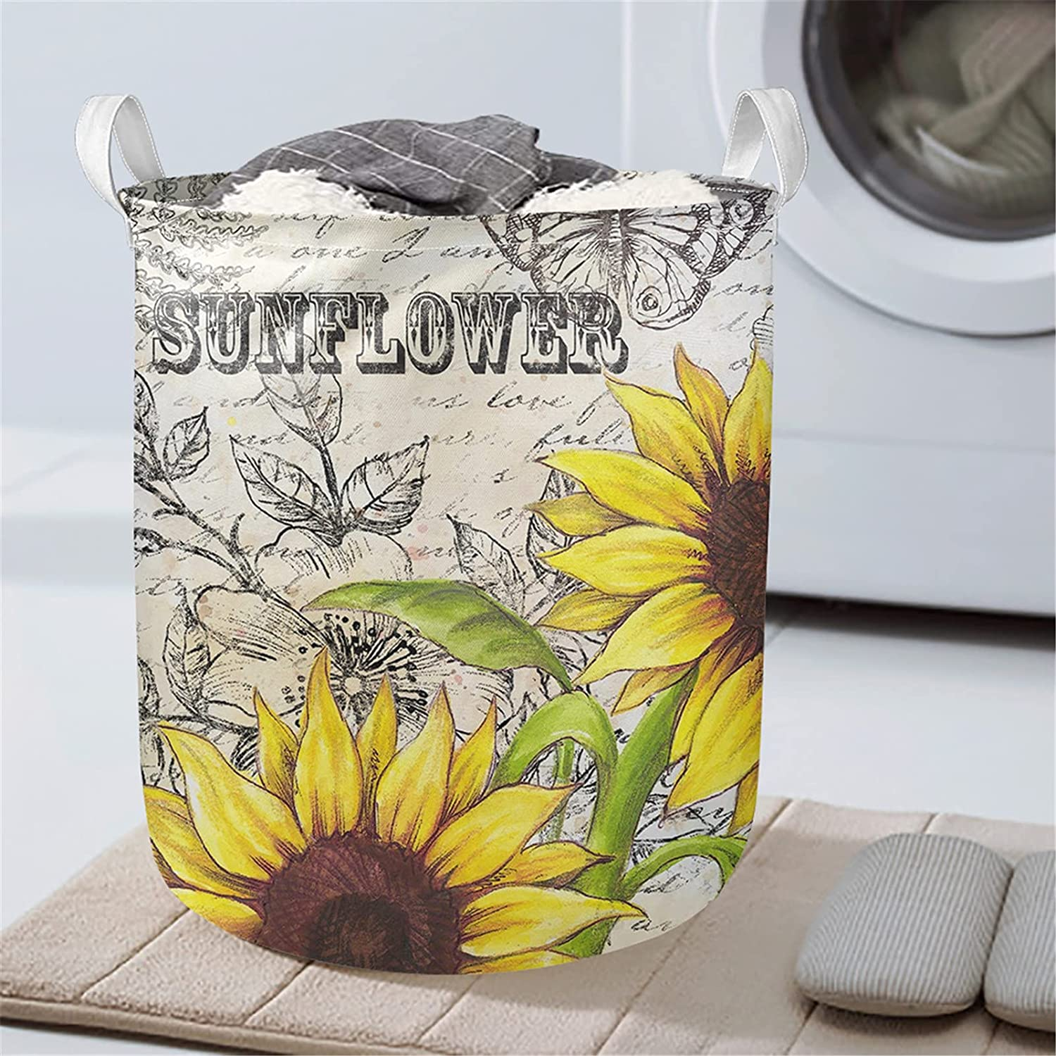Poceacles Sunflower Butterfly Print Waterproof Storage Basket, Collapsible Round Standable Bin, Laundry Hamper for Bathroom/Home Decor/Baby Hamper