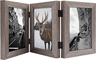 Frametory, 5x7 Inch Hinged Picture Frame with Glass Front - Made to Display Three 5x7 Inch Pictures, Stands Vertically on Desktop or Table Top (5x7 Triple, Grey)
