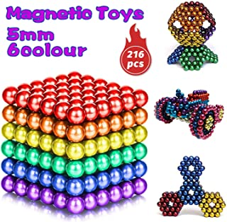HOMOFY 6 Colors 216 Pcs 5MM Magnets DIY Fidget Toys Magnetic Balls Fidget Blocks Building Blocks for Development of Intelligence Learning and Fidget Magnets Stress Relief Gift for Adults or Kids