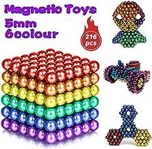 HOMOFY 6 Colors 216 Pcs 5MM Magnets DIY Fidget Toys Magnetic Balls Fidget Blocks Building Blocks for Development of Intelligence Learning and Fidget Magnets Stress Relief Gift for Adults or Kids