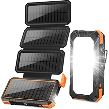 Amazon Com Blavor Solar Charger Power Bank 18w Qc 3 0 Portable Wireless Charger 10w 7 5w 5w With 4 Outputs Dual Inputs 20000mah External Battery Pack Ipx5 Waterproof With Flashlight Compass Dark Green