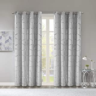 Intelligent Design Raina Total Blackout Metallic Print Grommet Top Window Curtain Panel Thermal Insulated Light Blocking Drape for Bedroom Living Room and Dorm, 50x84, Grey/Silver
