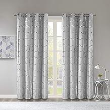 Intelligent Design Raina Total Blackout Metallic Print Grommet Top Window Curtain Panel Thermal Insulated Light Blocking D...