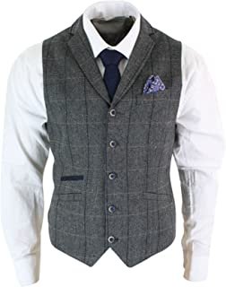 eb29bf6e94 Mens Classic Tweed Herringbone Check Brown Grey Slim Fit Vintage Waistcoat  Gilet