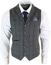 Cavani Mens Classic Tweed Herringbone Check Brown Grey Slim Fit Vintage Waistcoat Gilet