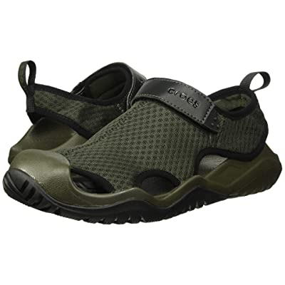 Crocs Swiftwater Mesh Deck Sandal (Dark Camo Green/Black) Men