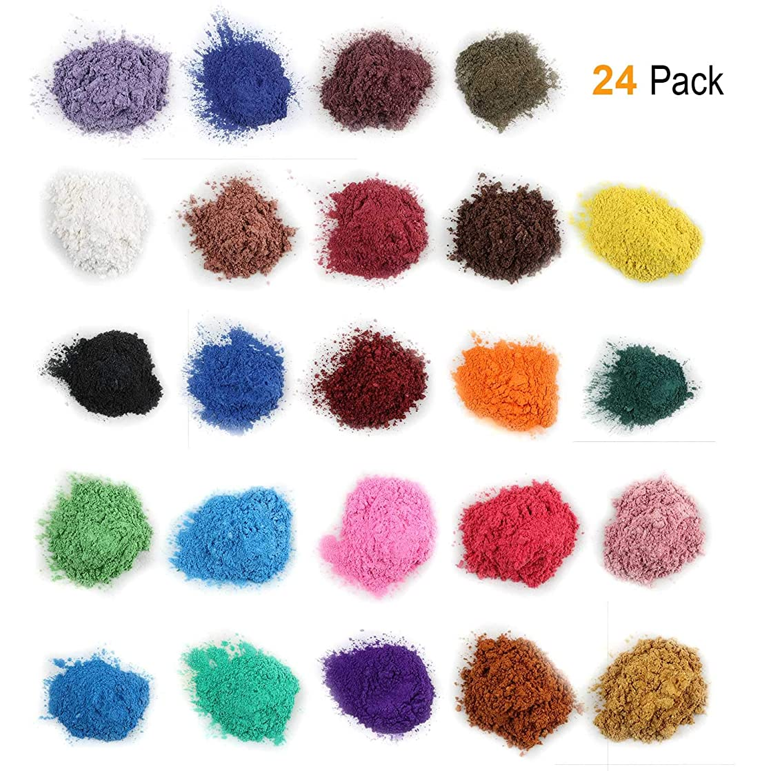 Mica Powder for Bath Bombs [0.18 oz 24 Bags], Cosmetic Grade Soap Making Colorant Pigments for Candle Making, Blush, Eye Shadow, Craft Projects, Nail Art, Resin Jewelry, Blush, Craft Projects lujsntll81294