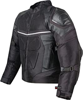 PRO LEATHER & MESH MOTORCYCLE WATERPROOF JACKET BLACK WITH EXTERNAL ARMOR XXL