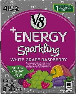 V8 +Energy Sparkling Healthy Energy Drink, Natural Energy from Tea, White Grape Raspberry,33.6 Fl Oz (Pack of 24)