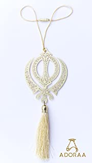 ADORAA Sikh Punjabi Khanda Symbol - Rear View Mirror Car Hanging Ornament/Perfect Car Charm Pendant/Amulet - Accessories for Car Décor in Brass for Divine Blessings & Safety/Protection