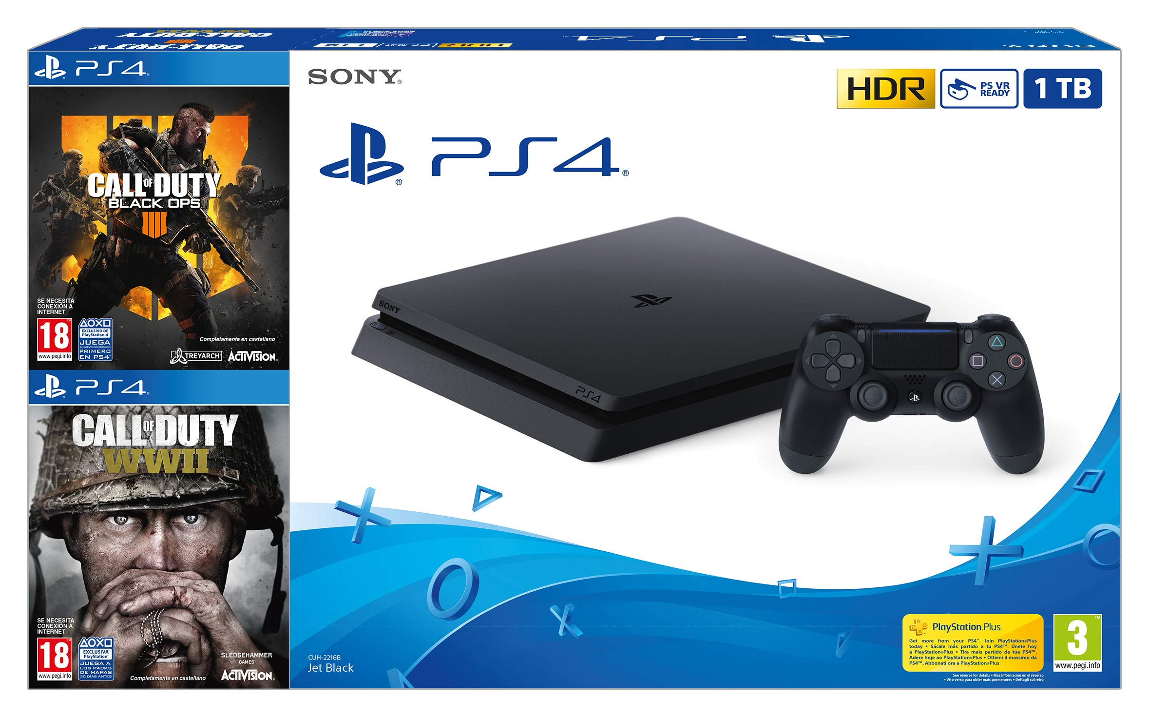 PlayStation 4 (PS4) - Consola 1 TB + COD Black Ops IIII + COD WW2 ...