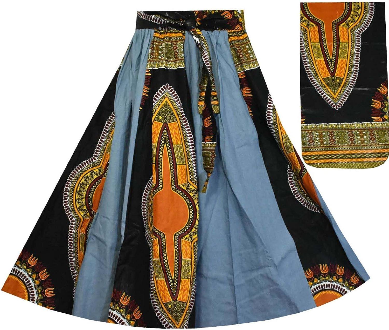 Decoraapparel Women's Denim Skirt Long Dashiki Maxi Skirt High Waist Skirt Plus Size bluee