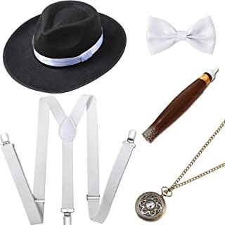 BABEYOND 1920s Mens Gatsby Gangster Costume Accessories Set 30s Manhattan Fedora Hat Suspenders