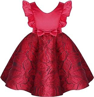 Nimiya Kids Girls V Neck Ruffle Sleeve Bowknot Sewed Flower Print Dress Birthday Wedding Party Dress