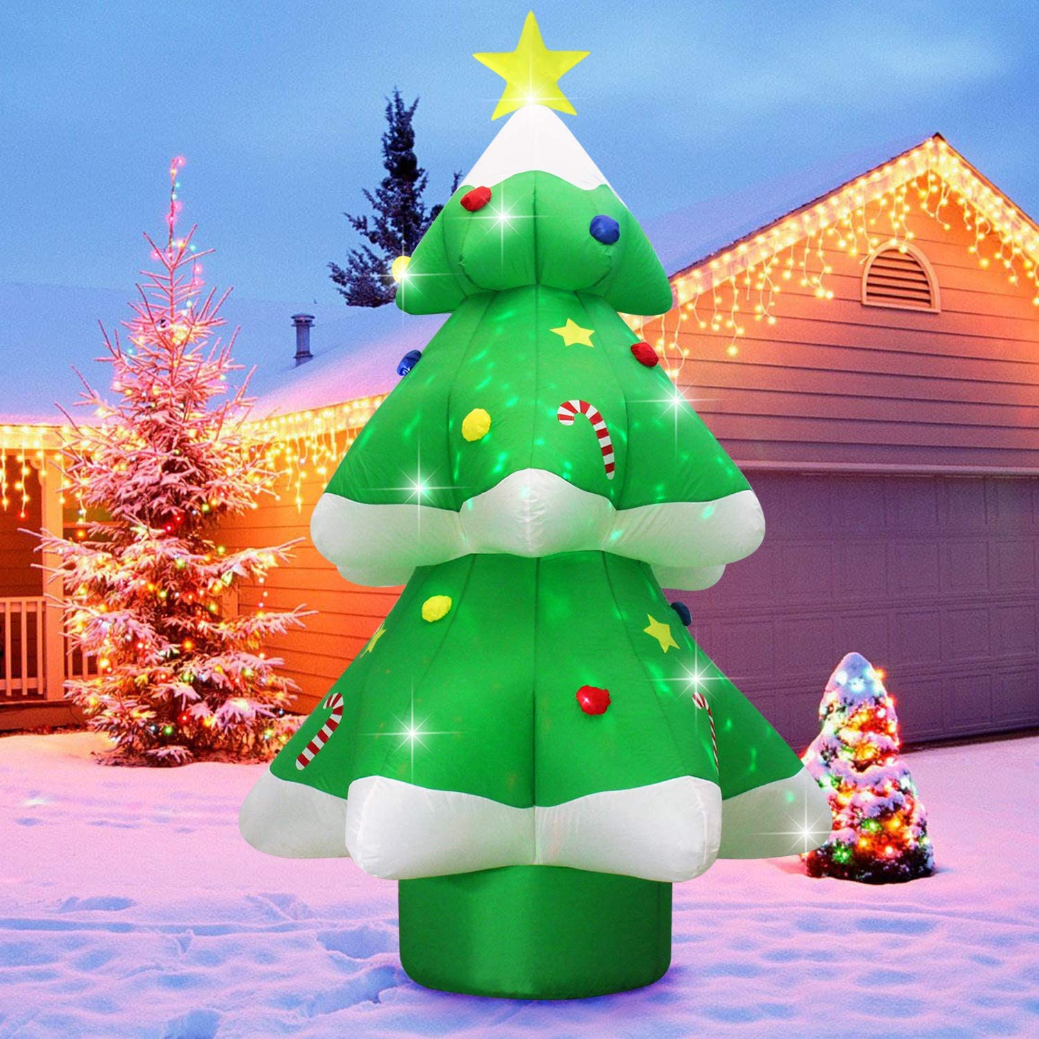 Fanshunlite Christmas Inflatable 9FT LED Color Changing Christmas Tree Lighted Blow-Up Yard Party Decoration Xmas Airblown Inflatable Outdoor Indoor Home Garden Family Prop Yard