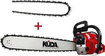 KUDA CN-52 Motosierra de Gasolina, 2 tiempos, 1 cadena extra, roja, espada 50 cm, 3 cv, 52 cc