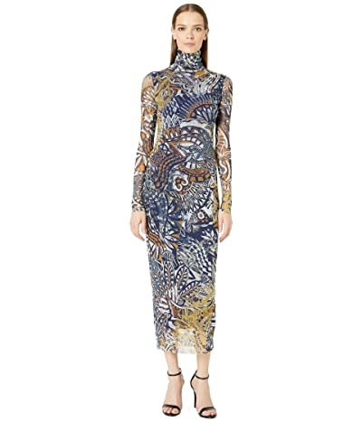 FUZZI Long Sleeve Mystical T-Neck Dress (Avio) Women