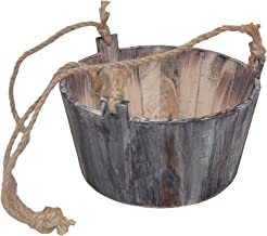 Cheung's FP-3693 Round Wooden Planter with Rope Handle