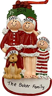 Personalized Family of 3 Christmas Ornament with Dog 2019