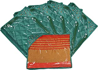 Kuber Industries Silk 6 Pieces Single Packing Saree Cover (Green) -CTLTC10607
