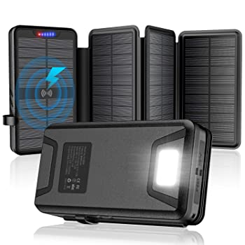 Solar Charger 35800mAh Solar Power Bank with Dual 3.1A Outputs Wireless Charger Waterproof Ultra Bright LED Panel Light and Flashlights Compatible Most Smart Phones Tablets and More