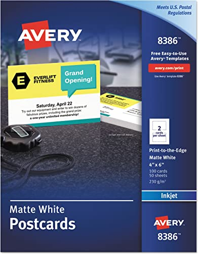 new arrival Avery 8386 Postcards, Inkjet, 4 high quality x lowest 6, 2 Cards/Sheet, White (Box of 100 Cards) online