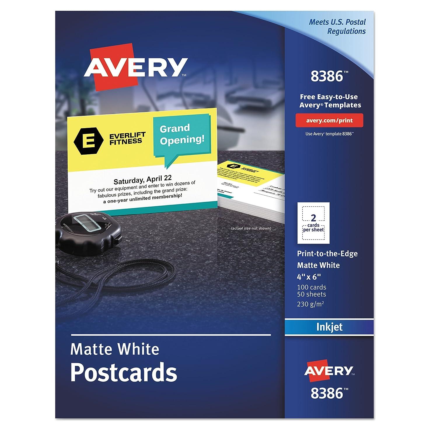 Avery 8386 Postcards, Inkjet, 4 x 6, 2 Cards/Sheet, White (Box of 100 Cards)