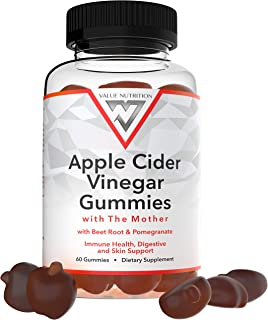 Apple Cider Vinegar Gummies – with The Mother, Beet Root, Pomegranate, B12, B9 – Immune Health, Digestive a...