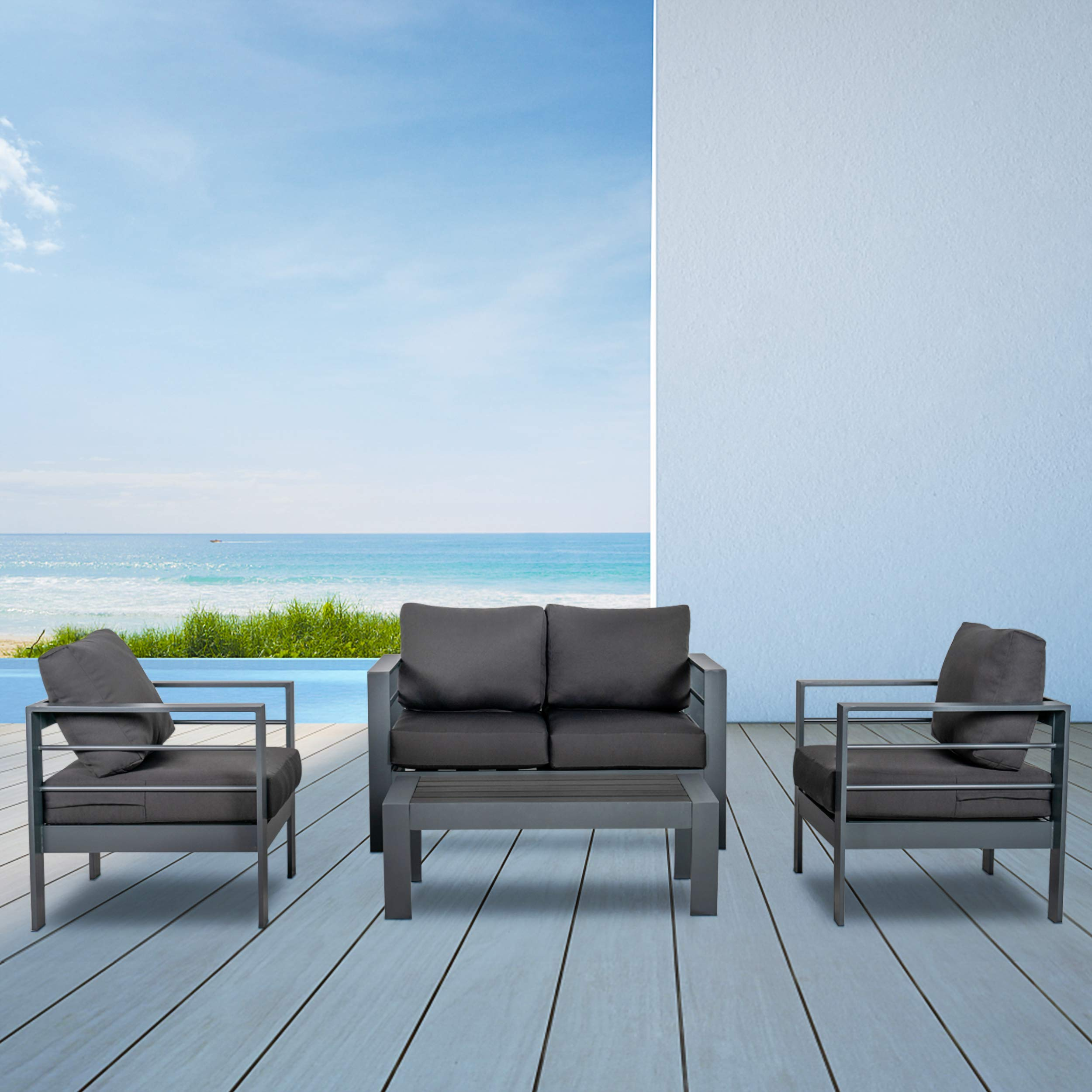 Scurrty Outdoor Patio Furniture Sets Clearance Aluminum Patio Furniture Sectional Sofa Metal Grey Conversation Set with Gr...