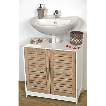 Tendance Mueble para Colocar Debajo del Lavabo Stockholm, 2 Puertas y 1 Estantería, Color Blanco/Roble, 60 x 30 x 70 cm: Amazon.es: Hogar