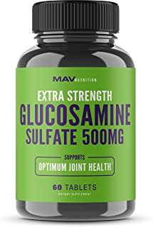 MAV Nutrition Glucosamine Sulfate + Potassium Supplement for Back Pain & Anti-Inflammatory, Non-GMO, Vegetarian Friendly, 60 Count