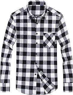 قمصان رجالي كاجوال من ERZTIAY بأزرار سفلية عادية وأكمام طويلة منقوشة من الفلانيل