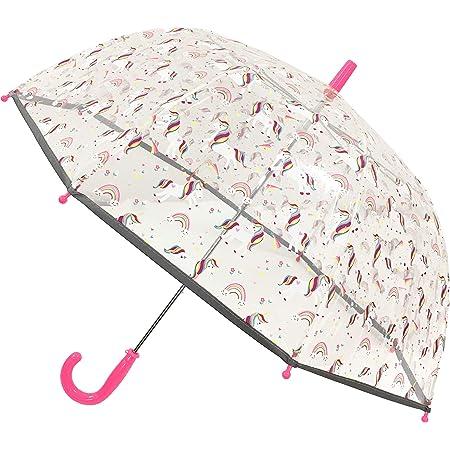 SMARTBULLE Parapluie Enfant Transparent Cloche - Bordure Fluorescente : Résistant au Vent ; Diamètre=71cm ; Ouverture Manuel ; Parapluie Fille ; Motif : Licorne