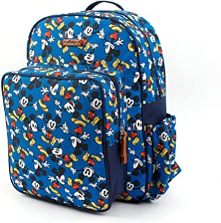 WINGHOUSE X Disney Mickey Minnie Mouse Diaper Backpack Stroller Hanger Strap with Water Bottle Pocket Large Capacity (Blue)