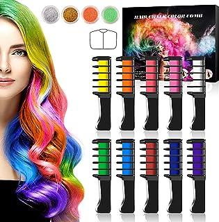 comprar comparacion Buluri Peine de Tiza Para el Pelo, Coloración temporal Cabello, 10 Colores Tiza de Pelo, Hair Chalk Peine de tiza para el ...