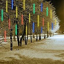 Meteor Shower Rain Drop Lights, 80cm 8 buizen IJspegel IP65 waterdichte Sneeuwvallichten voor Kerstboom Tuin Bruiloft Deco...