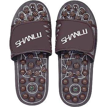 SHANLU Foot Massagers, Acupressure Massage Slippers,Reflexology Massage Sandals, Jade Massage Slipper for Men Women(M) (Men(7-10) Women(9-12))