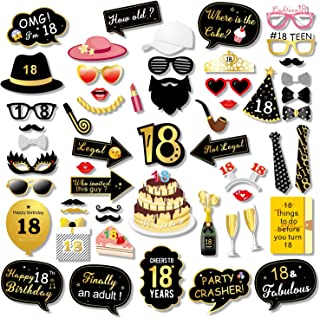 Konsait 18th Birthday Photo Booth Props, 18 Black and Faux Gold Happy Birthday Decorations DIY Photo Booth Prop Kits with Stick Party Accessories for Birthday Party Favor Supplies (55 Counts)