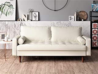 Container Furniture Direct Orion Mid Century Modern PU Leather Upholstered Living Room Loveseat with Bolster Pillows, 50.39