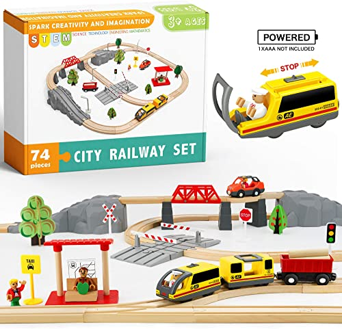 high quality 74 Pcs Wooden Train Set new arrival with Battery Operated Train & Wooden Tracks wholesale -Fits Thomas, Brio, Chuggington, Melissa and Other Major Brands- Kids Toys for 3+ Years Old Boys & Girls online