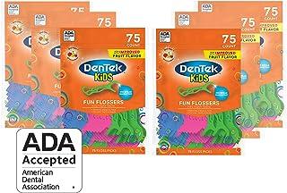 DenTek Kids Fun Flossers | Removes Food & Plaque | 75 Count | 6 Pack