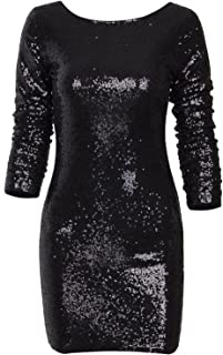 long sleeve low cut sequin dress