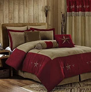 Chezmoi Collection Winslow 7-Piece Western Star Embroidery Microsuede Oversized Bedding Comforter Set (Queen, Burgundy/Coffee)