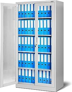 Jan Nowak by Domator24 Lüllmann C012-Armario archivador con Puerta de Doble Hoja, 4 estantes, Color Gris, Acero, 185 cm x ...