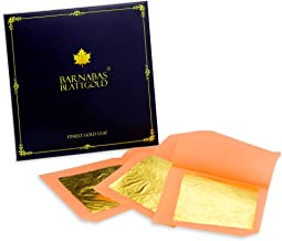 Genuine Edible Gold - Luxury Gold Leaf Sheets - Barnabas Gold Gold Leaf - Loose Leaf for Small Cakes - 1.5 inches per Sheet - Book of 12 Sheets