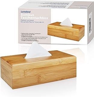 Lumaland Caja de pañuelos de bambú Aprox 24 x 12 x 7,5 cm con