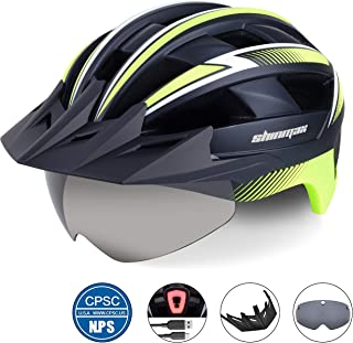 Shinmax Bike Helmet for Men,Bicycle Helmet with USB Rechargeable LED Light CPSC Safety Standard Road Cycling Helmet/Adjustable Size Detachable Visor&Removable Magnetic Goggles for Road&Mountain