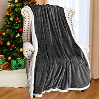 Grey Sherpa Throws Blanket,Super Soft Comfy Micro Mink Fleece Plush Couch Blanket Reversible Bed Throw TV Blanket, Comfort Caring Gift 50