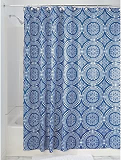 "iDesign Medallion Fabric Shower Curtain, Water-Repellent Bath Liner for Kids', Guest, College Dorm, Master Bathroom, 72"" x..."