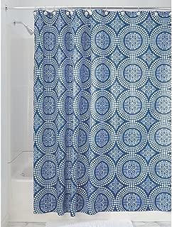 iDesign Medallion Fabric Shower Curtain, Water-Repellent Bath Liner for Kids', Guest, College Dorm, Master Bathroom, 72
